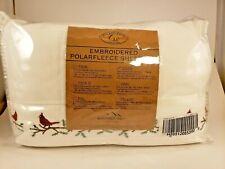 Berkshire Embroided Polarfleece Sheet Set QUEEN Cardinal White Winter Warm! NEW