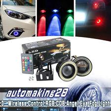 "2x Wireless Control 3"" LED RGB Color Fog Lights w/ White Angel Eye Rings Car USA"
