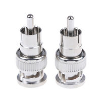 2Pcs BNC male to RCA male coax connector adapter cable coupler for cctv camer uW