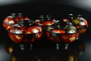 #7944: Japanese XF Wooden Lacquer ware LID BOWL Bundle sale Hidehira made