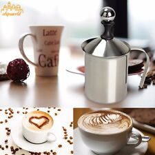 Stainless Steel Creamer Pump Milk Frother Double Froth Foamer 400ml Mesh Maker
