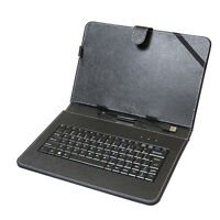 """Stand Leather Case Cover w/ USB Keyboard for Android Tablet 10"""" Universal Black"""