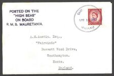 Bahamas Paquebot SHIP MAIL NASSAU Hosking 2432 on 1957 GB cover S.S. MAURETANIA