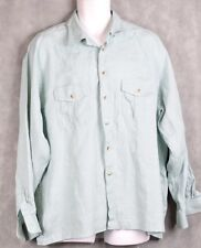 Paul Fredrick Men's Light Green Pure Linen Long Sleeve Shirt SIZE XL