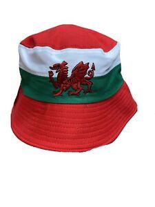 Welsh Red Dragon BUCKET HAT,BUSH HAT,  Wales Rugby, Football, Cymru Flag Design