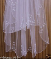 New 2T Ivory/White Elbow Beaded Edge sequins Bridal Wedding Veil With Comb