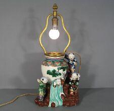 LAMPE EN FAÏENCE STYLE EXTRÊME-ORIENT / VASE ANCIEN CHINE JAPON DÉCOR ENFANTS