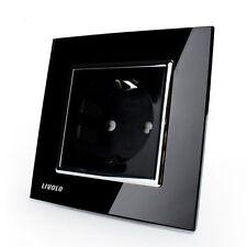 Livolo Black Crystal Glass 16A EU Wall Power Socket VL-C7C1EU-12 AC110~250V