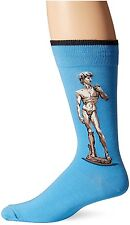 $30 HOT SOX Men 1 PAIR PACK Dress Casual CREW SOCK Blue David Cotton SHOE 6-12
