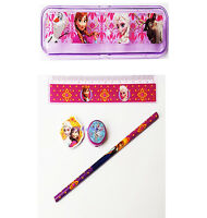 Disney Frozen 5 Piece School Set  Pencil Case  Sharpener  Ruler  Rubber  Pencil