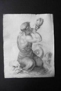 FRENCH NEOCLASSICAL SCHOOL CA. 1800 - MYTHOLOGICAL FIGURE - A TRITON - CHARCOAL