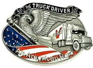 The Truck Driver An American Hero Enameled Belt Buckle
