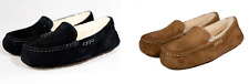NEW UGG ANSLEY SLIPPER CHESTNUT BLACK WOMENS SUEDE SHEARLING AUTHENTIC FREE SHIP