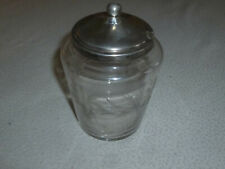 VINTAGE STERLING SILVER ETCHED FLOWER GLASS POT JAM JAR ANTIQUE HONEY CONDIMENT