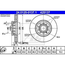 SATZ 2x ATE Bremsscheibe AUDI A4 (8E2 B6)  AUDI A4 (8EC B7)  AUDI A4 Avant (8E5