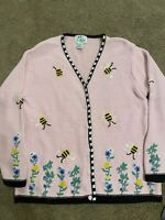 Womens Quacker Factory Pink Cardigan With Honey Bees Size Large