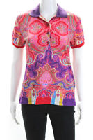 Etro Womens Paisley Short Sleeve Polo Shirt Top Pink Size 14