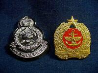 One Chrome MALAYSIA Military & One BURMA Navy Brass Hat Badges