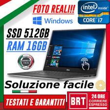 PC NOTEBOOK PORTATILE DELL XPS 13 9350 CPU i7 6gen RAM 16GB SSD 512GB WIN10 PRO!