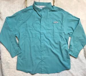 Columbia Men's PFG Fishing Shirt Long Sleeve Vented Mint Green Size XXL NWT