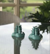 Pair of Homer Laughlin FIESTA Turquoise Blue Tripod Candle Holders EXC.