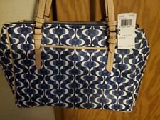 Coach Peyton Dream Coated Canvas Tote Blue And White $378 New