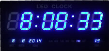 GRANDE LED DIGITALE OROLOGIO PARETE CON DATA TEMPERATURA 460x220x30mm BLU jh4622