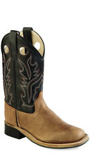 Old West Black Youth Boys Carona Leather Broad Square Toe Cowboy Boots