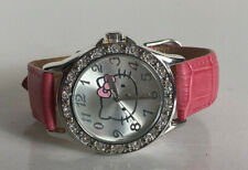 NEW! SANRIO HELLO KITTY SILVER-TONE RHINESTONES DIAL PINK LEATHER STRAP WATCH