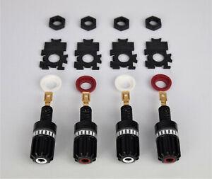 4 Stück WBT 0708 Cu Polklemmen Pro Set 2 x Rot + 2 x Weiß  - Neuware -