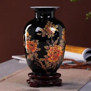 Porcelain Ceramic Decorative Vase Black Floral Design Classic Handmade Decor New