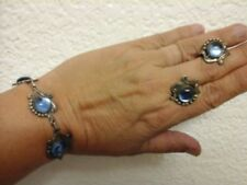 inch bracelet and screw earrings Taxco sterling and glass 7