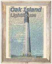 Oak Island Lighthouse NC Altered Art Print Upcycled Vintage Dictionary Page