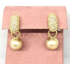 Golden Pearl Earrings with Pave Diamond Hoop in 18k Yellow Gold - HM1541