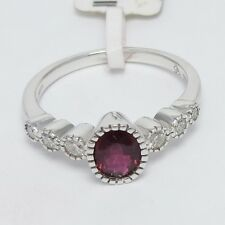 18k White Gold Oval Shape Pink Sapphire & Round Brilliant Cut Diamond Ring