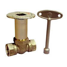 Log Lighter Straight Valve 1/2 inch Natural Gas with Key 1/4 Turn Polished Brass