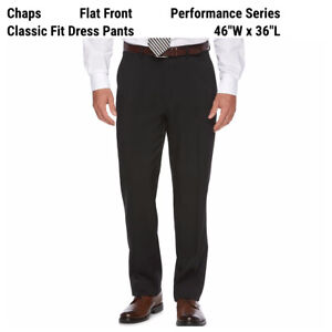 New Chaps Ralph Lauren Classic-Fit Dress Pants Mens 46 x 36 Black Stretch Career