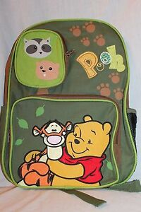 """NEW IN PACKAGE WINNIE THE POOH AND TIGER  12"""" X16"""" DISNEY  LARGE BACKPACK"""
