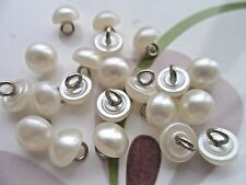 20pcs Buttons Faux Pearly Round Half Ball Silver Wire Shank Sew Dress 8mm