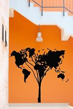 Wall Stickers Vinyl Decal World Map Earth Lands Tree Cool Decor  (z2082)