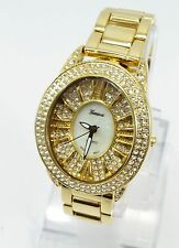 Women Gold Plated Cubic Zirconia Geneva Bling Iced Out Wrist Watch#1a