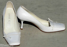 NEW WOMEN  ANNE KLEIN NEW YORK WHITE LEATHER HEELS PUMPS SHOES 7M ITALY