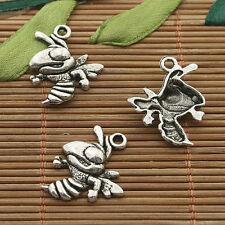 12pcs dark silver tone cartoon bee charm h3363