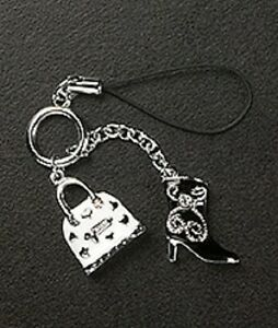 Cell Phone Charm Strap Dangle Enamel Handbag & Boot Christmas Gift Silver Plated