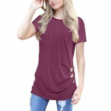Tunic Basic Top Solid Women Short Sleeve Round Neck Loose Knit Shirt Side Drape