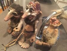 3 Vintage Rustic Art NyForm Norway Trolls collector 9-12 Inches tall