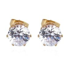 18kt YELLOW GOLD FILLED 6mm CZ STUDS EARRINGS - SPARKLY - VERY NICE QUALITY