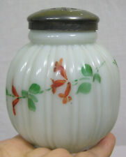 Vtg Milk Glass Sugar Shaker Ribbed Design w Hand Painted Vines 1940s