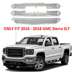 For 2016-2018 GMC Sierra 1500 SLT CHROME Snap On Grille Overlay Grill Covers