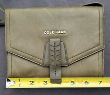 Cole Haan Purse on a String Organizer Travel Bag Green Leather Wallet Sample